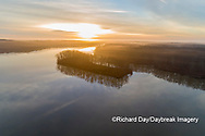 63895-16913 Sunrise and fog Stephen A. Forbes State Park-aerial-Marion Co. IL