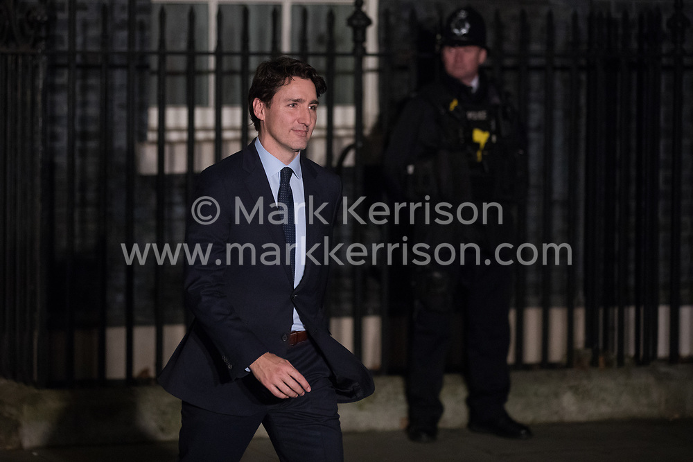 London, UK. 3 December, 2019. Justin Trudeau, Prime Minister of Canada, leaves following a reception for NATO leaders at 10 Downing Street on the eve of the military alliance's 70th anniversary summit at a luxury hotel near Watford.