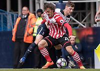Football - 2016 / 2017 Premier League - Tottenham Hotspur vs. Southampton<br /> <br /> Manolo Gabbiadini of Southampton holds off the challenge of Ben Davies of Tottenham at White Hart Lane.<br /> <br /> COLORSPORT/DANIEL BEARHAM