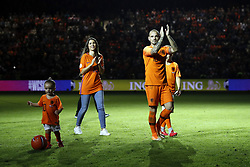 (L-R) Xess Xava,, Yolanthe Sneijder-Cabau,  Wesley Sneijder of Holland, Jessey Sneijder during the International friendly match match between The Netherlands and Peru at the Johan Cruijff Arena on September 06, 2018 in Amsterdam, The Netherlands