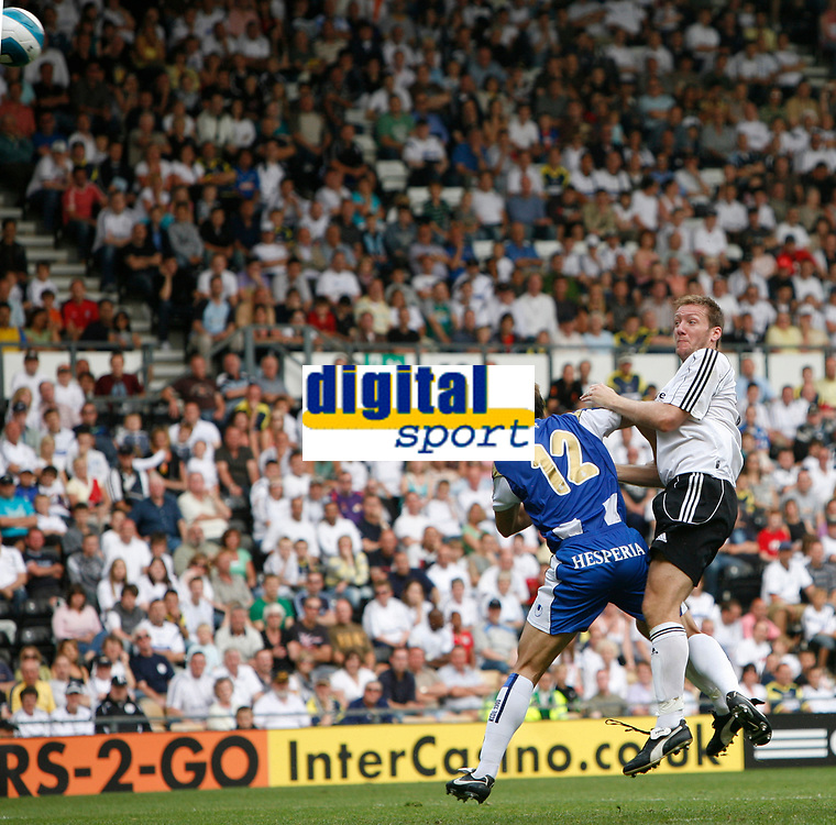 Photo: Steve Bond.<br />Derby County v RCD Espanyol. Pre Season Friendly. 04/08/2007.  Steve Howard equalaises with a header to make the score 2-2
