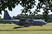 A C-130 arrives at Spirt of St. Louis Airport on Thursday in Chesterfield on September 5, 2019 in advance of the annual Spirit of St. Louis Airshow and STEM Expo which runs Saturday and Sunday, September 7th and 8th.<br /> Tim Vizer/Spirit of St. Louis Airshow & STEM Expo