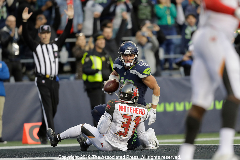 Seattle Seahawks Tampa Bay Buccaneers during the second half of an NFL football game, Sunday, Nov. 3, 2019, in Seattle. (AP Photo/John Froschauer)