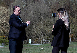 Alex Salmond Launches Alba Party Candidates, 21 April 2021<br /> <br /> The new ALBA Party launched its Central Scotland candidates at an event at the Falkirk Wheel today.<br /> <br /> Pictured: Alex Salmond, Alba Party Leader and former First Minister of Scotland being interviewed by the press<br /> <br /> Alex Todd | Edinburgh Elite Media