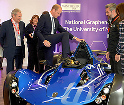 The Duke of Cambridge in a BAC car worth £180,000 at the National Graphene Research Institute during a day of engagements in Manchester.