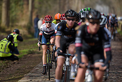 Nicole Hanselmann well positioned over the first set of cobbles at Ronde van Drenthe 2017. A 152 km road race on March 11th 2017, starting and finishing in Hoogeveen, Netherlands. (Photo by Sean Robinson/Velofocus)