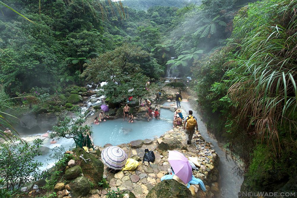 A wild hot spring in Yanfming Shan Park in Taiwan.