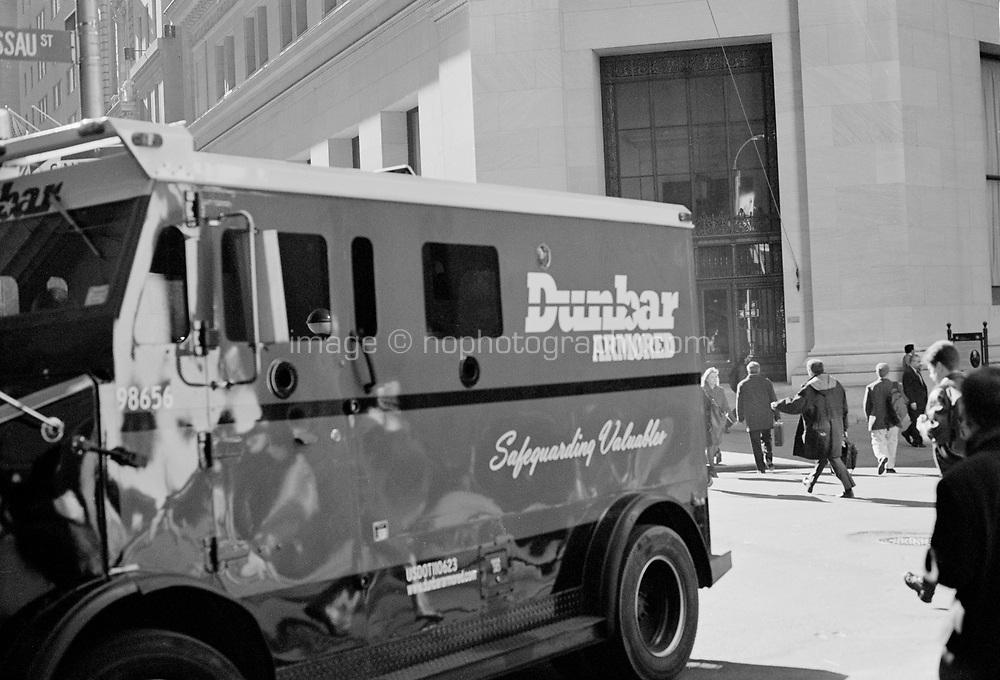 Armored truck at Nassau Street Lower Manhattan New York circa 2000