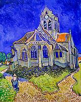 France, Paris (75), zone classée Patrimoine Mondial de l'UNESCO, Musée d'Orsay, L'Eglise d'Auvers-sur-Oise, vue du chevet, Vincent Van Gogh // France, Paris, Orsay museum, L'Eglise d'Auvers-sur-Oise, vue du chevet, Vincent Van Gogh