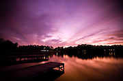 A beautiful red and purple sunset over a lake in North Carolina.