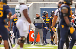 Oct 3, 2020; Morgantown, West Virginia, USA; West Virginia Mountaineers head coach Neal Brown yells from the sidelines during the fourth quarter against the Baylor Bears at Mountaineer Field at Milan Puskar Stadium. Mandatory Credit: Ben Queen-USA TODAY Sports