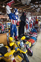 Action Hero at Papaya Vintage - Papaya Vintage is like no other shop you have even seen - a warehouse in the Lat Phrao area of Bangkok brimming with collectables, action figures, junk, exquisite antiques, and more. The adventure begins as your eyes zoom in on toys and objects from the past, reminders of moments of your childhood. Think: Darth Vader and Ultraman figures, gazing onto James Dean forever posing cool next to a doorway. Climbing the upper floors is like moving randomly through time. You can't help but notice the vintage Vespas and mannequins of comic characters Flash, Wolverine, Green Lantern and Batman, all standing next to toy cars, fluffy sofas, bean bag chairs, and grandma's lampshade.