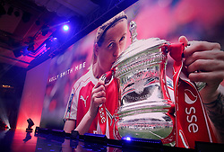 Kelly Smith is shown on the big screen before collecting the PFA special Achievement Award during the Professional Footballers' Association Awards 2017 at the Grosvenor House Hotel, London