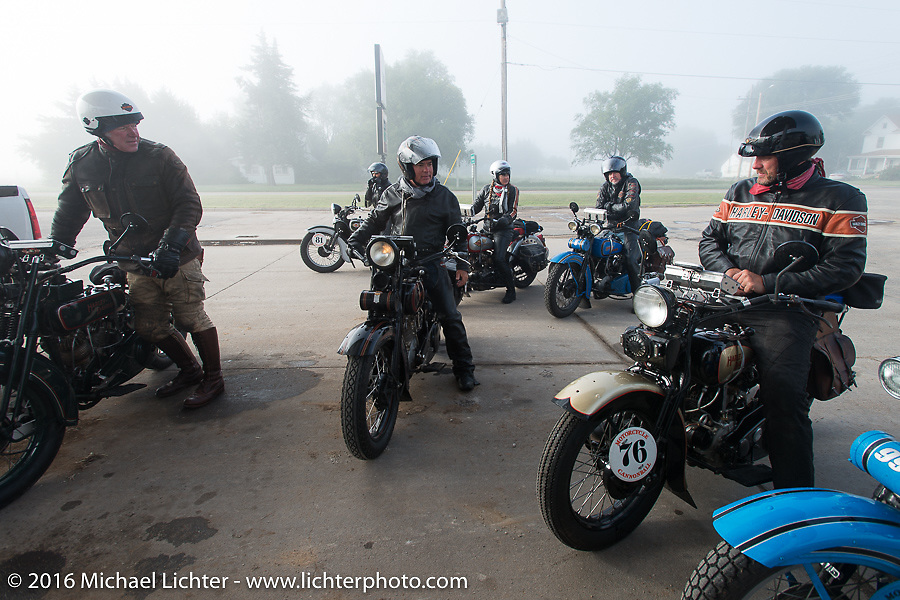 """Dean """"Vino"""" Bordigioni, Scott Jacobs and Robert the """"Big Swede"""" Gustavsson during Stage 8 of the Motorcycle Cannonball Cross-Country Endurance Run, which on this day ran from Junction City, KS to Burlington, CO., USA. Saturday, September 13, 2014.  Photography ©2014 Michael Lichter."""