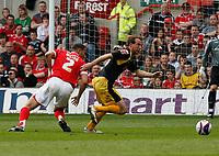 Photo: Steve Bond/Richard Lane Photography. <br />Nottingham Forest v Yeovil Town. Coca-Cola Football League One. 03/05/2008. Kelvin Wilson (L) is turned by Marcus Stewart (R)