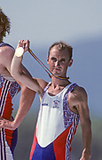 Barcelona, SPAIN. Gold Medalist, GBR M2+,h cox, Gary HERBERT.  Celebrate's on the awards dock, showing hid Gold Medal, 1992 Olympic Rowing Regatta Lake Banyoles, Catalonia [Mandatory Credit Peter Spurrier/ Intersport Images] Last time Men's coxed pair raced at the Olympics,