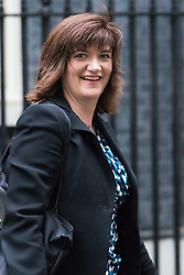 Downing Street, London, May 10th 2016. Education Secretary Nicky Morgan leaves the weekly cabinet meeting in Downing Street.