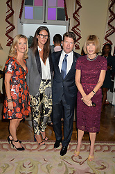 Left to right, BROOKE BARZUN, JENNA LYONS J. Crew creative director, MATTHEW BARZUN and ANNA WINTOUR at a party hosed by the US Ambassador to the UK Matthew Barzun, his wife Brooke Barzun and editor of UK Vogue Alexandra Shulman in association with J Crew to celebrate London Fashion Week held at Winfield House, Regent's Park, London on 16th September 2014.