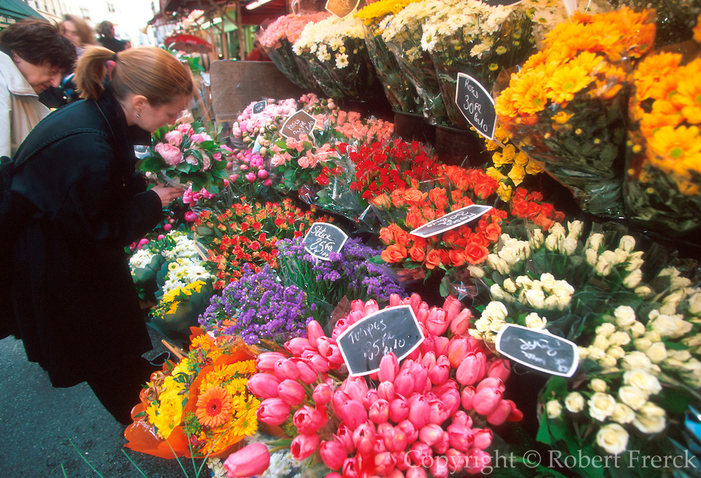 FRANCE, PARIS, LEFT BANK flower and produce market on rue de Buci in the St Germain area, one of Paris' most colorful streets