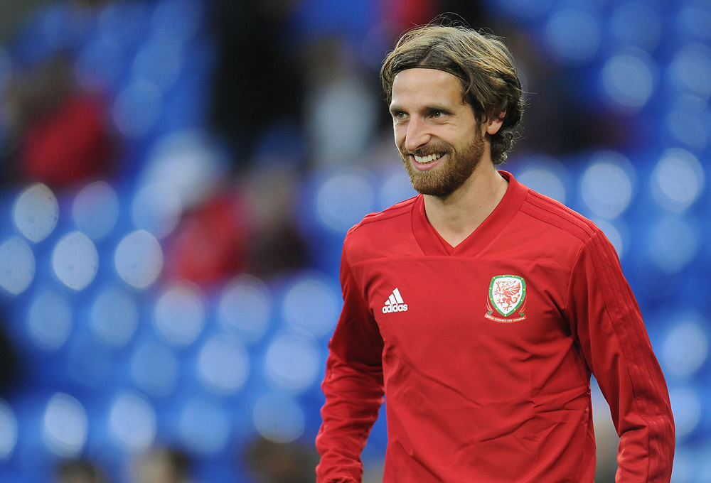 Wales' Joe Allen during the pre-match warm-up <br /> <br /> Photographer Kevin Barnes/CameraSport<br /> <br /> UEFA Nations League - Group Stage - League B - Group 4 - Wales v Republic of Ireland - Thursday September 6th 2018 - Cardiff City Stadium - Cardiff<br /> <br /> World Copyright © 2018 CameraSport. All rights reserved. 43 Linden Ave. Countesthorpe. Leicester. England. LE8 5PG - Tel: +44 (0) 116 277 4147 - admin@camerasport.com - www.camerasport.com