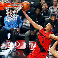 18 March 2018: Portland Trail Blazers guard CJ McCollum (3) goes for the layup during the Portland Trail Blazers 122109 victory over the LA Clippers, at the Staples Center, Los Angeles, California, USA.