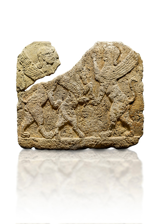 Picture & image of Hittite relief sculpted orthostat stone panel of Herald's Wall Limestone, Karkamıs, (Kargamıs), Carchemish (Karkemish), 900-700 B.C. Anatolian Civilisations Museum, Ankara, Turkey.<br /> <br /> Two sphinxes standing on their hind legs on both sides attack to the winged horse standing on its hind legs in the middle.  <br /> <br /> Against a white background. .<br />  <br /> If you prefer to buy from our ALAMY STOCK LIBRARY page at https://www.alamy.com/portfolio/paul-williams-funkystock/hittite-art-antiquities.html  - Type  Karkamıs in LOWER SEARCH WITHIN GALLERY box. Refine search by adding background colour, place, museum etc<br /> <br /> Visit our HITTITE PHOTO COLLECTIONS for more photos to download or buy as wall art prints https://funkystock.photoshelter.com/gallery-collection/The-Hittites-Art-Artefacts-Antiquities-Historic-Sites-Pictures-Images-of/C0000NUBSMhSc3Oo