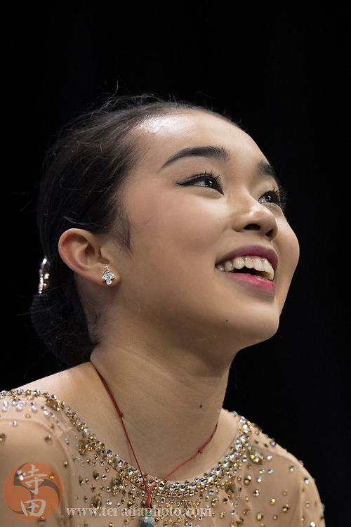 January 3, 2018; San Jose, CA, USA; Karen Chen smiles in the kiss and cry in the ladies short program during the 2018 U.S. Figure Skating Championships at SAP Center.