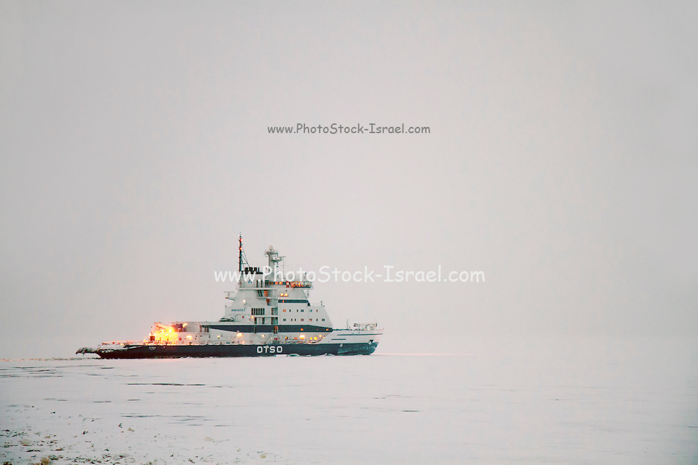 Icebreaker ship. Photographed in the arctic circle, Lapland Sweden