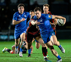 Conor O'Brien of Leinster under pressure from Hallam Amos of Dragons<br /> <br /> Photographer Simon King/Replay Images<br /> <br /> Guinness PRO14 Round 10 - Dragons v Leinster - Saturday 1st December 2018 - Rodney Parade - Newport<br /> <br /> World Copyright © Replay Images . All rights reserved. info@replayimages.co.uk - http://replayimages.co.uk