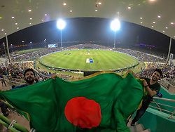 September 26, 2018 - Abu Dhabi, United Arab Emirates - Bangladeshi fans cheer during the Asia Cup 2018 cricket match between Bangladesh and Pakistan at the Sheikh Zayed Stadium,Abu Dhabi, United Arab Emirates on September 26, 2018  (Credit Image: © Tharaka Basnayaka/NurPhoto/ZUMA Press)