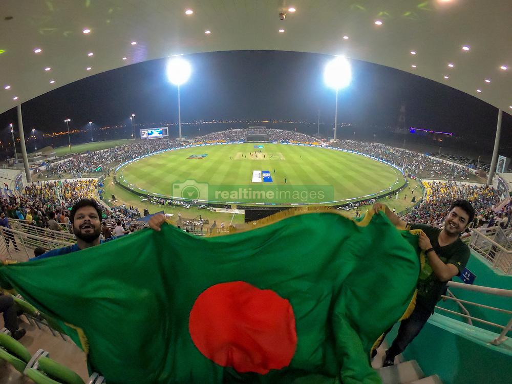 September 26, 2018 - Abu Dhabi, United Arab Emirates - Bangladeshi fans cheer during the Asia Cup 2018 cricket match between Bangladesh and Pakistan at the Sheikh Zayed Stadium,Abu Dhabi, United Arab Emirates on September 26, 2018  (Credit Image: © Tharaka Basnayaka/NurPhoto/ZUMA Press)