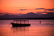 Boat at sunset on Ilha do Mel, Brazil