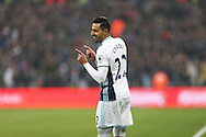 Nacer Chadli of West Bromwich Albion celebrates after scoring his sides 1st goal. Premier league match, West Ham Utd v West Bromwich Albion at the London Stadium, Queen Elizabeth Olympic Park in London on Saturday 11th February 2017.<br /> pic by John Patrick Fletcher, Andrew Orchard sports photography.