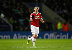 Bastian Schweinsteiger of Manchester United celebrates scoring his sides first goal  - Mandatory byline: Jack Phillips/JMP - 07966386802 - 28/11/2015 - SPORT - FOOTBALL - Leicester - King Power Stadium - Leicester City v Manchester United - Barclays Premier League