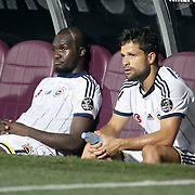 Fenerbahce's Moussa Sow (L) and Diego Ribas (R) during their Turkish SuperLeague Derby match Trabzonspor between Fenerbahce at the Avni Aker Stadium at Trabzon Turkey on Sunday, 14 September 2014. Photo by Aykut AKICI/TURKPIX