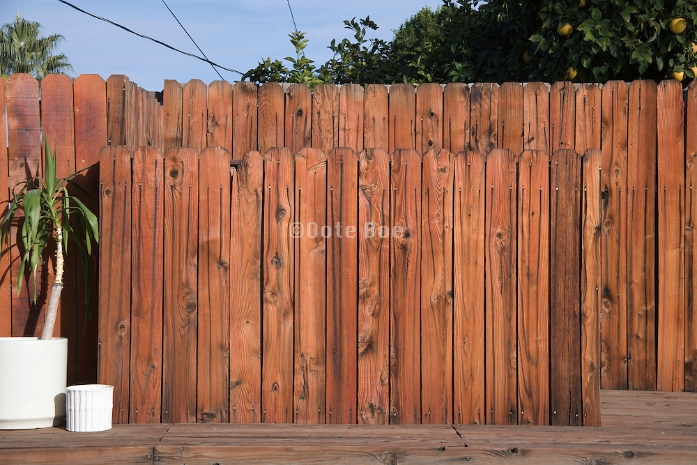 wooden fence in the backyard of a private house