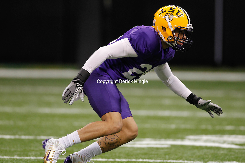 January 5, 2012; New Orleans, LA, USA; LSU Tigers cornerback Tyrann Mathieu (24) during practice for the 2012 BCS National Championship game to be played on January 9, 2012 against the Alabama Crimson Tide at the Mercedes-Benz Superdome.  Mandatory Credit: Derick E. Hingle-US PRESSWIRE