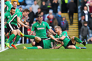 Sean Raggett of Lincoln City (on ground c) celebrates with his teammates after scoring his teams 1st goal. The Emirates FA cup 5th round match, Burnley v Lincoln City at Turf Moor in Burnley, Lancs on Saturday 18th February 2017.<br /> pic by Chris Stading, Andrew Orchard Sports Photography.