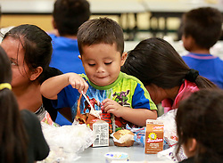 September 15, 2017 - Florida, U.S. - Three-year-old Jesus Miguel Francisco enjoys a free lunch with family members at Highland Elementary in Lake Worth Friday, September 15, 2017. Schools throughout Palm Beach County opened their doors on Thursday and Friday to share a free healthy breakfast and lunch after Hurricane Irma. Children under the age of 18, as well as the adult accompanying them, were welcome to eat. Children did not have to be a registered student of the District or of the school to receive a free meal. ''We had about 40 people for breakfast and about 67 for lunch yesterday,'' said assistant principal Erin Walsh. ''We are expecting the same today. Anybody who lives in the community, 18 and under, is welcome to come. I think people are coming for a nice cool place to sit and charge their devices as much as for the food. And it is good for kids to get back in the routine of coming back to school. (Credit Image: © Bruce R. Bennett/The Palm Beach Post via ZUMA Wire)