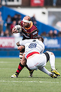 Rynard Landman of the Newport Gwent Dragons  is tackled by Josh Turnbull of the Cardiff Blues. Guinness Pro12 rugby match, Cardiff Blues v Newport Gwent Dragons at the Cardiff Arms Park in Cardiff, South Wales on Sunday 17th April 2016.<br /> pic by Simon Latham, Andrew Orchard sports photography.