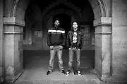 Paris - Place des Vosges - Juin 2012 - Deux jeunes surveillants du lycée situé proche de la Maison Victor Hugo.