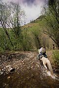 Writer David Quammen horse riding near Khovsgol Lake, in the Egg-Ur watershed region.