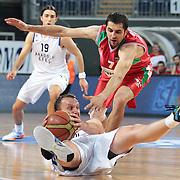 Anadolu Efes's Dusko Savanovic (L) and Pinar Karsiyaka's Goran Ikonic (R) during their Turkish Basketball League Play Off match Anadolu Efes between Pinar Karsiyakaat Sinan Erdem Arena in Istanbul, Turkey, Sunday, May 06, 2012. Photo by TURKPIX