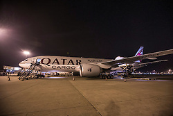 Horse Cargo of Qatar Airlines <br /> Departure of the horses to the World Cup Finals in Las Vegas from Schiphol - Amsterdam 2015.<br />  © Hippo Foto - Dirk Caremans