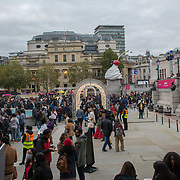 A very low Diwali on Trafalgar Square cautiously from the Indian variant spreads on 23 October 2021, London, UK.