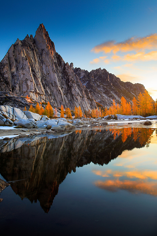 Prusik Peak from Gnome Tarn in the Enchantment Lakes area of the Alpine Lakes Wilderness, Washington