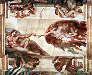 Creation of Adam. Ceiling of the Sistine Chapel, Vatican (Pre-restoration).   Michelangelo (1475-1564).