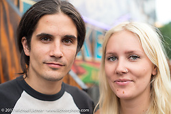 Sarah and Chris Milanowski at Mondo's Old School Denver's Choppers show at the Iron Horse Saloon during the Annual Sturgis Black Hills Motorcycle Rally. SD, USA. Saturday August 5, 2017.  Photography ©2017 Michael Lichter.
