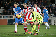 Jamie Jones (Stevenage) makes a save during the Sky Bet League 2 match between Hartlepool United and Stevenage at Victoria Park, Hartlepool, England on 9 February 2016. Photo by Mark P Doherty.