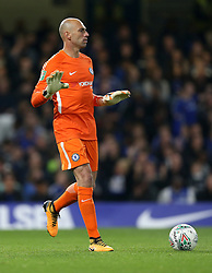 """Chelsea goalkeeper Willy Caballero during the Carabao Cup, Fourth Round match at Stamford Bridge, London. PRESS ASSOCIATION Photo. Picture date: Wednesday October 25, 2017. See PA story SOCCER Chelsea. Photo credit should read: Nigel French/PA Wire. RESTRICTIONS: EDITORIAL USE ONLY No use with unauthorised audio, video, data, fixture lists, club/league logos or """"live"""" services. Online in-match use limited to 75 images, no video emulation. No use in betting, games or single club/league/player publications."""